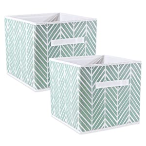 "DII Foladble Fabric Storage Bins for Nursery, Offices, Home, Containers are Made to Fit Standard Cube Organizers, Small - 11 x 11 x 11"", Herringbone Mint"