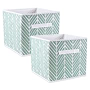 DII Foladble Fabric Storage Bins for Nursery, Offices, Home, Containers are Made to Fit Standard Cube Organizers, Small-11 x 11 x 11, Herringbone Mint