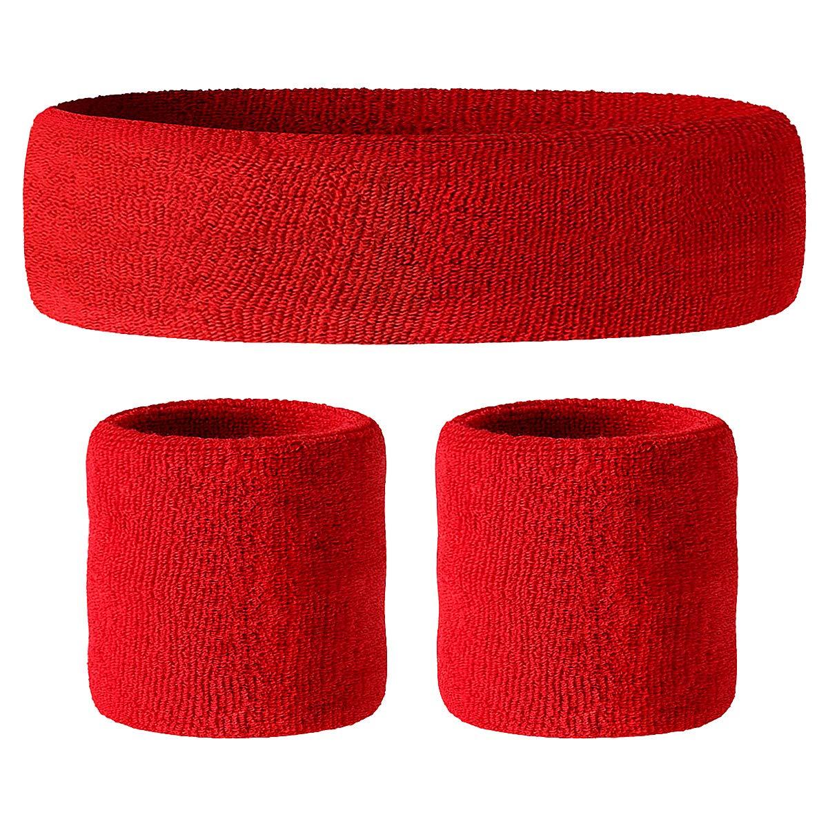 Hoter–Cinturino fascia in spugna, Wristband, fascia tergisudore in spugna (prezzo per singolo pezzo), A3-Black(1Headband+2Wristbands)