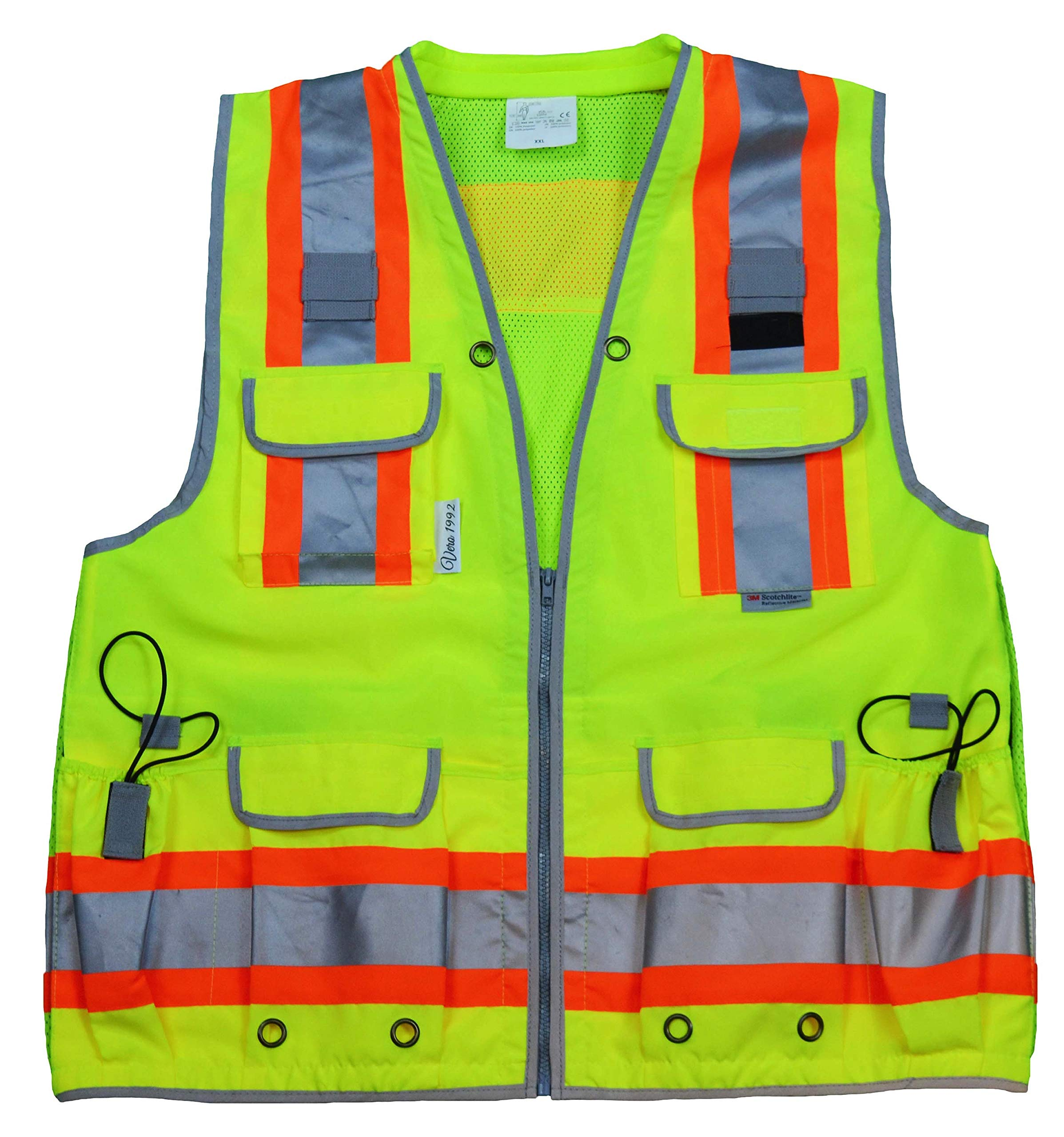 Vero1992 Reflective Vest Class 2 Heavy Woven Two Tone Engineer Hi Viz Yellow Safety Vest 3M 8712 Tape (XX-Large, Yellow)