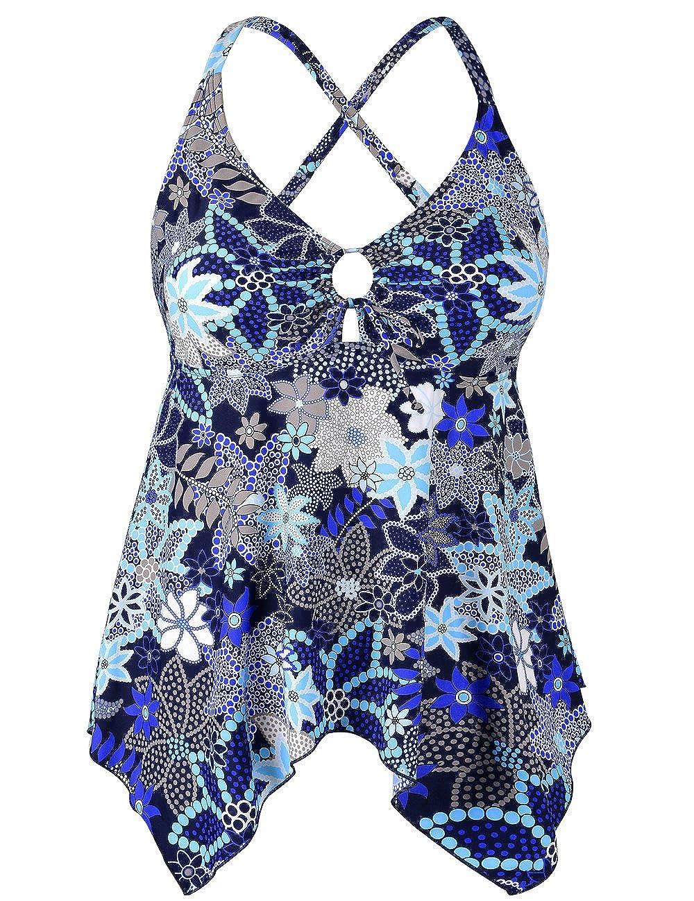Hilor Womens Flowy Tankini Top A Line Swim Tops Handkerchief Hem Bathing Suit