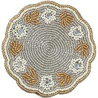 杯垫 普通 串珠 花朵 花朵图案 银色 φ10cm