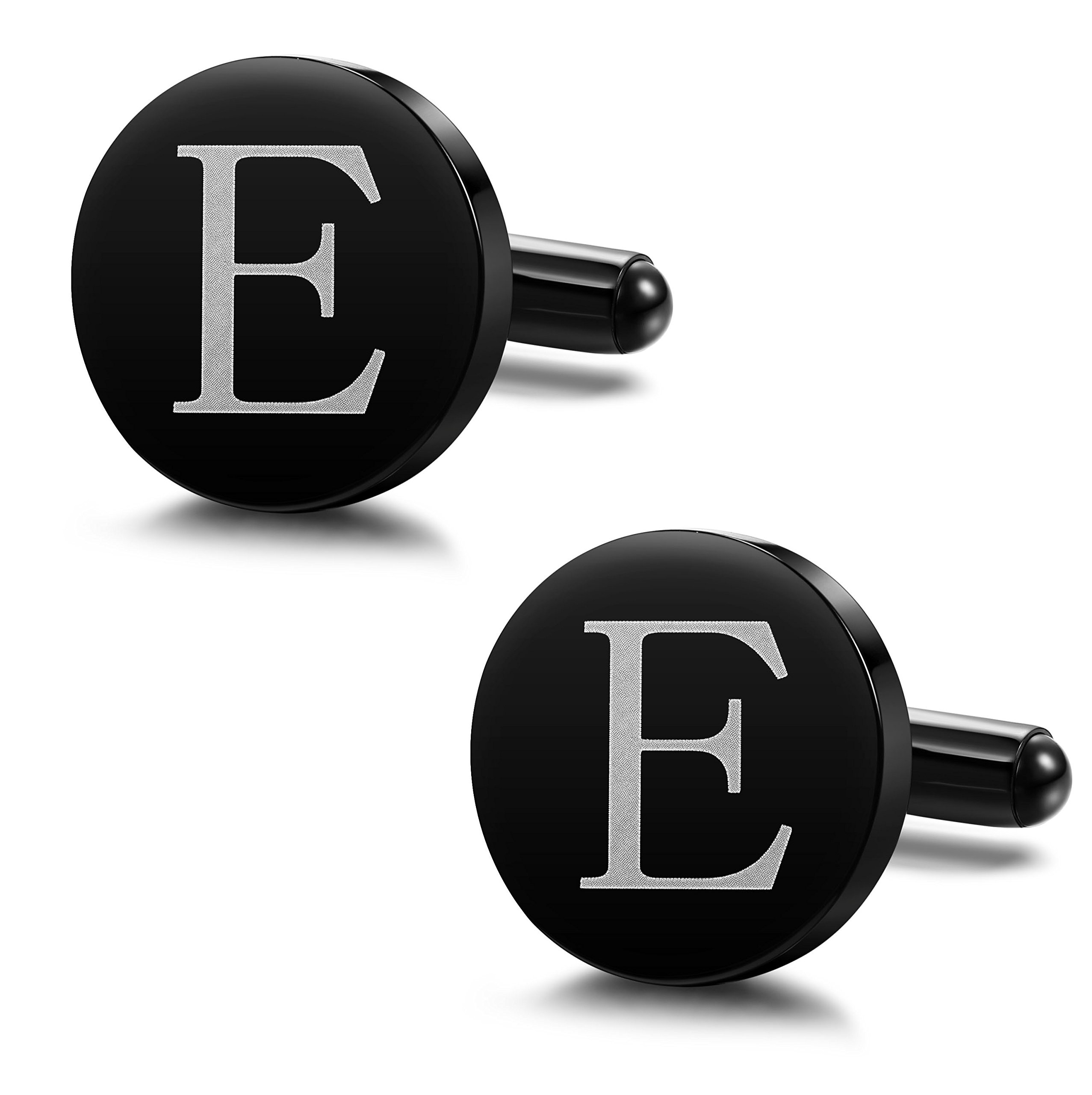 ORAZIO Mens Classic Engraved Initial Cufflinks Alphabet Letter Cufflinks Formal Kit Business Wedding Shirts E