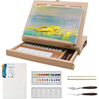 Adjustable Wood Box Desktop Easel Art Painting Supplies with Storage Drawer,Canvas Panel Boards,Paint Palette - Portable…