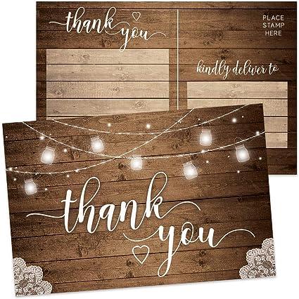 Amazon.com: Juego de 50 tarjetas de agradecimiento rústicas ...