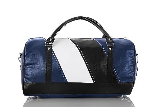 3G Premium leatherette 20 Cabin size Duffel Bag 20 L x 10.5 W x 11 H Blue/black
