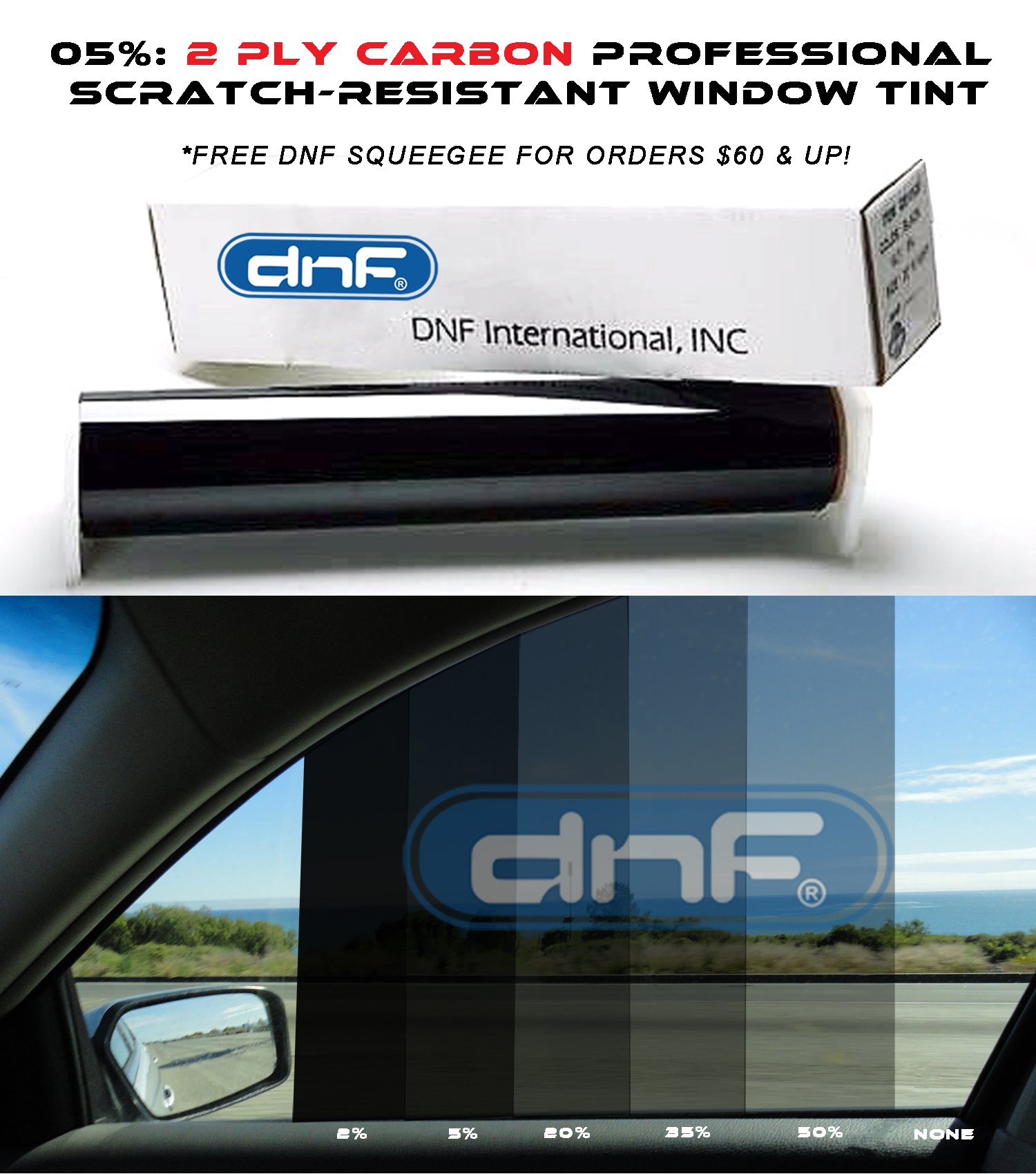 DNF 2 PLY Carbon 5% 36'' X 100 Feet Window Tint Film for Cars + Homes + Commercial Buildings