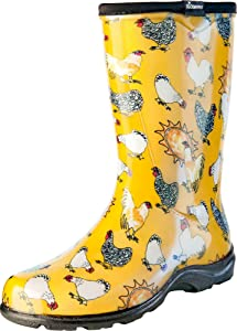 Sloggers Women's Waterproof Rain and Garden Boot with Comfort Insole, Chickens Daffodil Yellow, Size 7, Style 5016CDY07