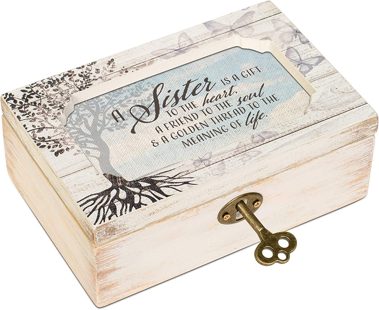 Cottage Garden Sister Gift to Heart Butterfly Tree Decoupage Petite Music Box Plays Wind Beneath My Wings