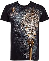 Sakkas Eagle Perched on a Sword Metallic Silver Embossed Cotton Mens Fashion T-Shirt