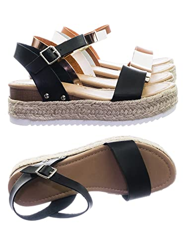 a4fa84ad5e2 SODA Clip Black Espadrille Flatform Sandals