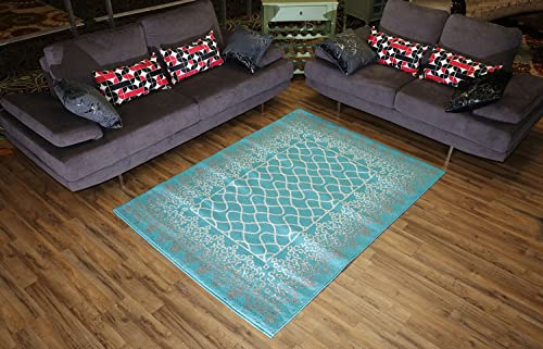 Designer Collection Trellis Lace Design Contemporary Modern Area Rug Rugs 2 Different Color Options Turquoise Blue, 4 11 x6 11