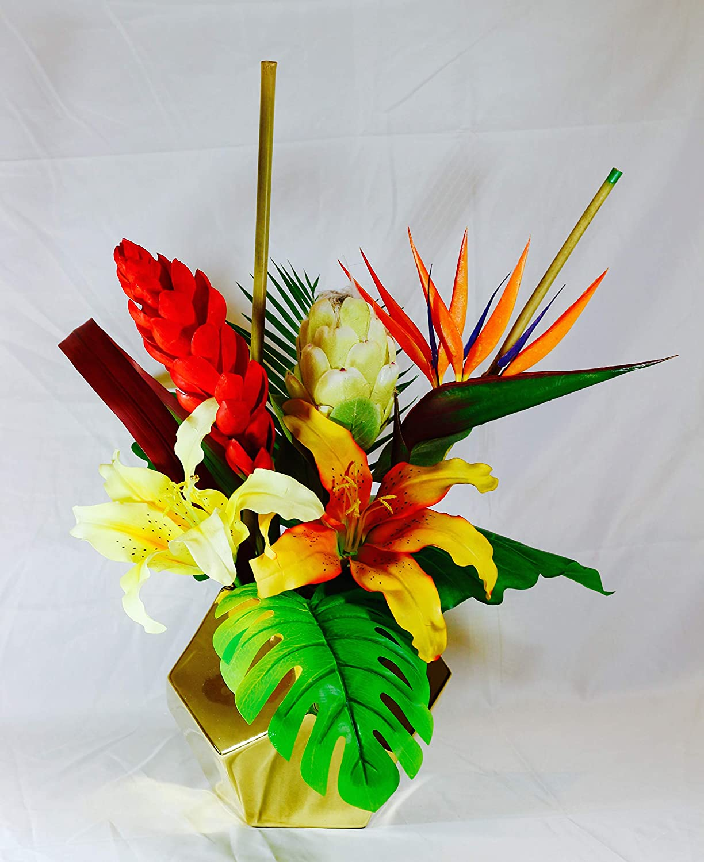 Amazon Com Tropical Arrangement Exotic Artificial Flowers Home Office Special Events Centerpiece Handmade