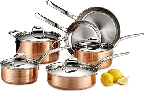 Lagostina Q554SA64-Martellata Tri-ply Hammered Stainless Steel Copper Oven Safe Cookware Set