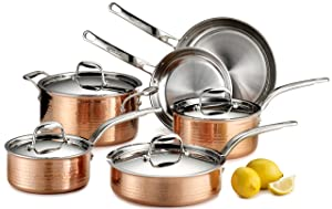 Lagostina Q554SA64 Martellata Tri-ply Hammered Stainless Steel Copper Oven Safe Cookware Set, 10-Piece, Copper