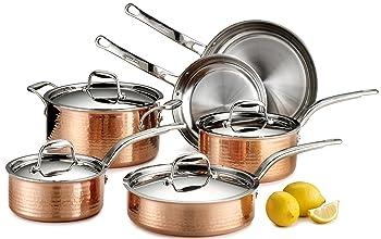 Lagostina Martellata Hammered 10-Piece Copper Cookware Set