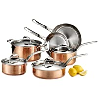 Lagostina Martellata Hammered Copper 18/10 Tri-Ply Stainless Steel Cookware Set,...