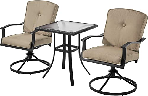Mainstay' Patio Bistro Set Seats 2 Cushioned Swivel Chairs Outdoor Small Space Deck Porch