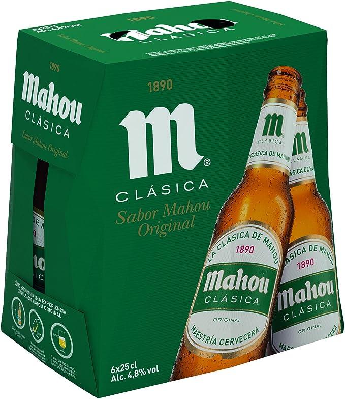 Mahou Clásica - Cerveza Dorada Lager, 4.8% de Volumen de Alcohol - Pack de 6 x 25 cl: Amazon.es: Alimentación y bebidas