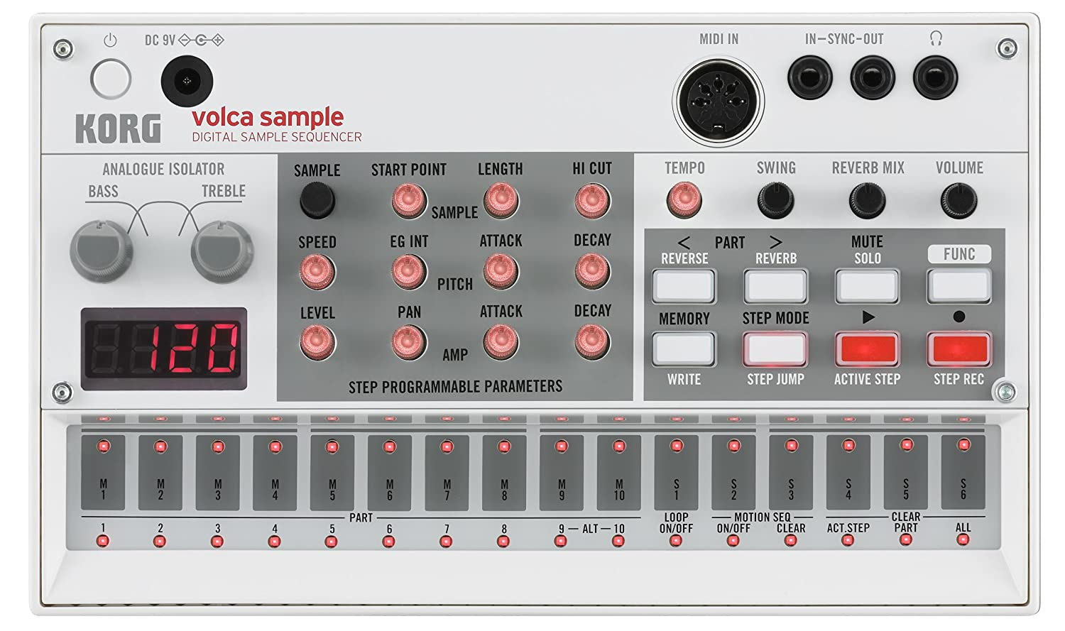 Korg VOLCASAMPLE - Secuenciador, color plateado Sampler