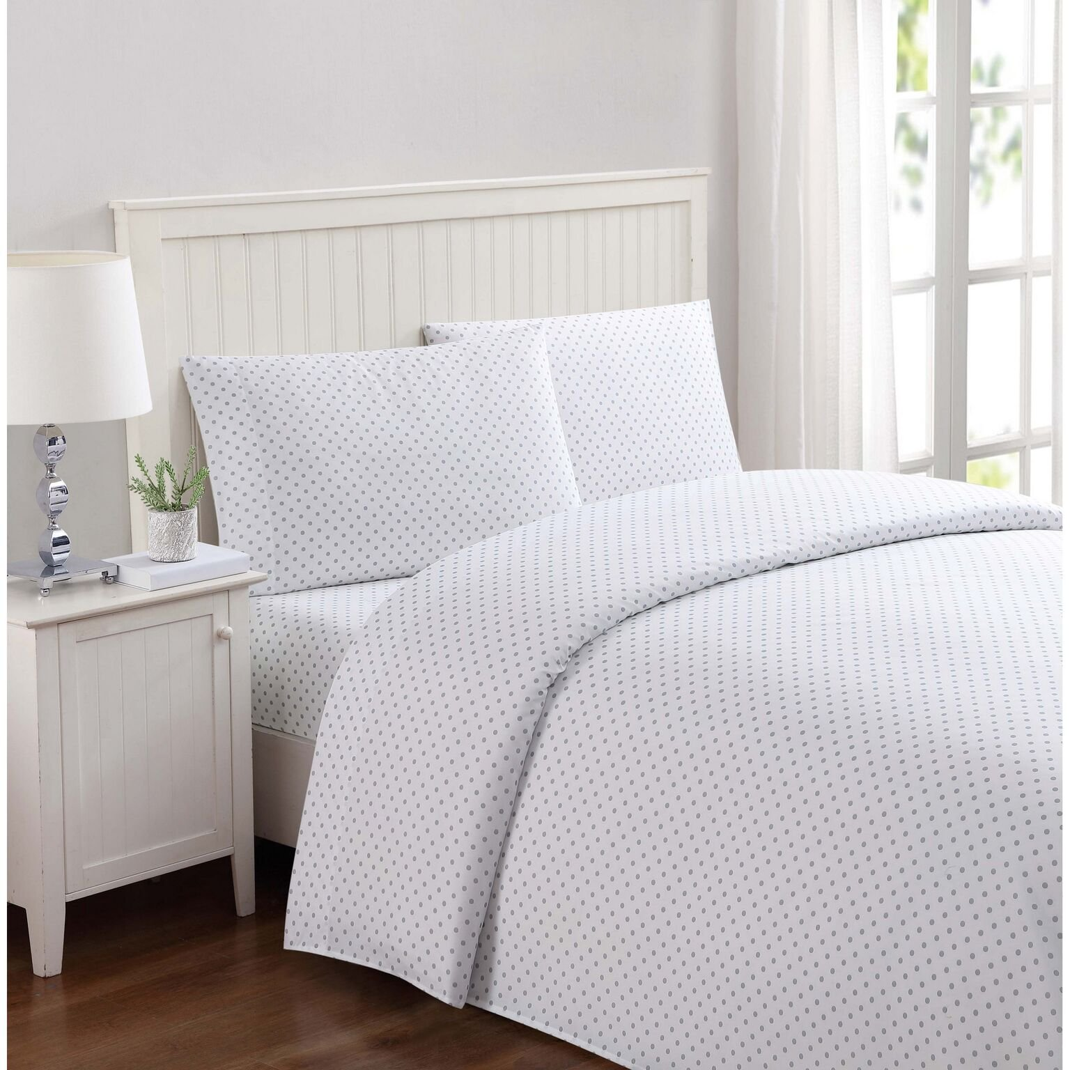 Truly Soft Everyday Printed Dot Sheet Set, Twin X-Large, White/Grey