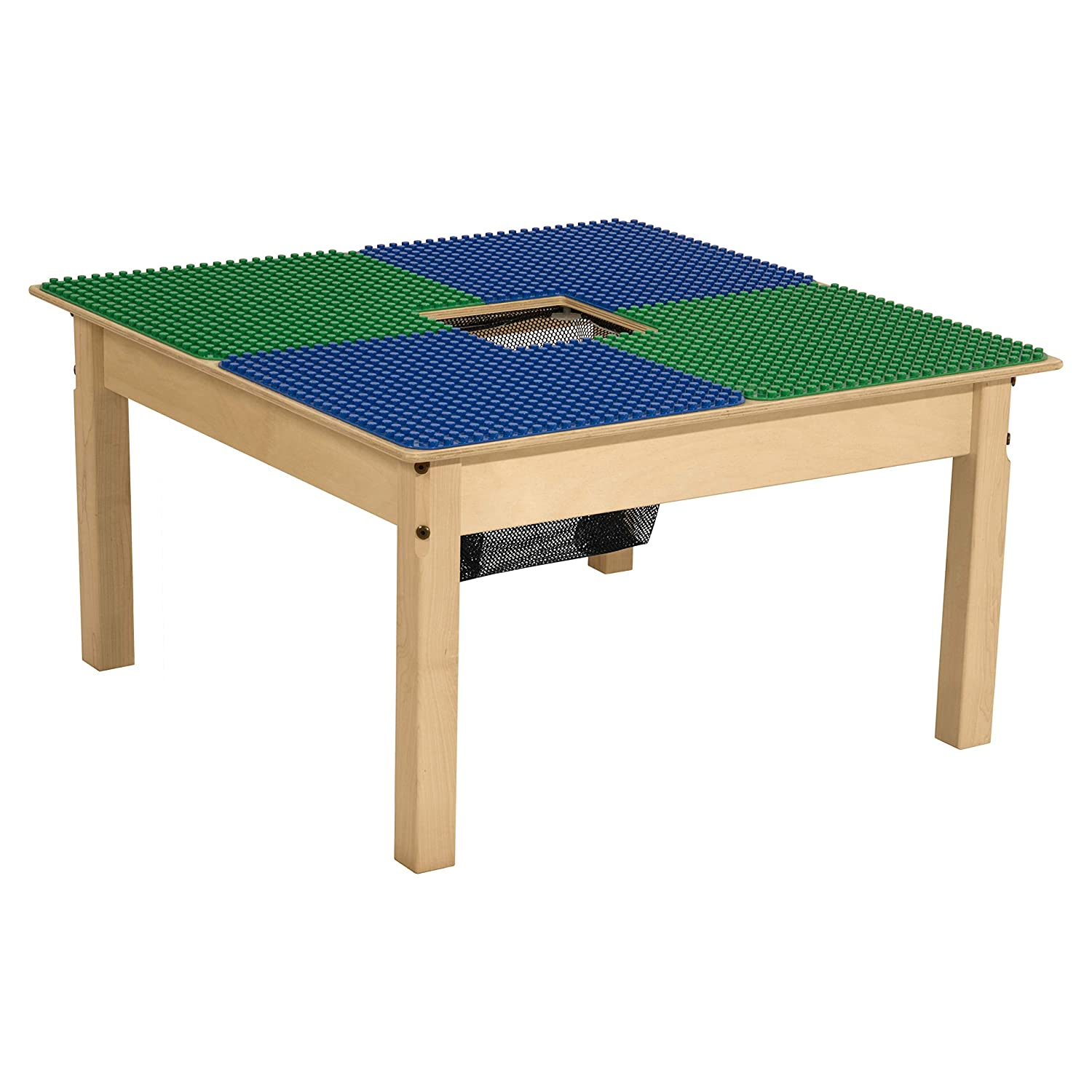 "Wood Designs Time-2-Play Duplo Compatible Square Table with Storage for Kids, Blue & Green, 16.5"" Legs (TP3131PGN16-BG)"