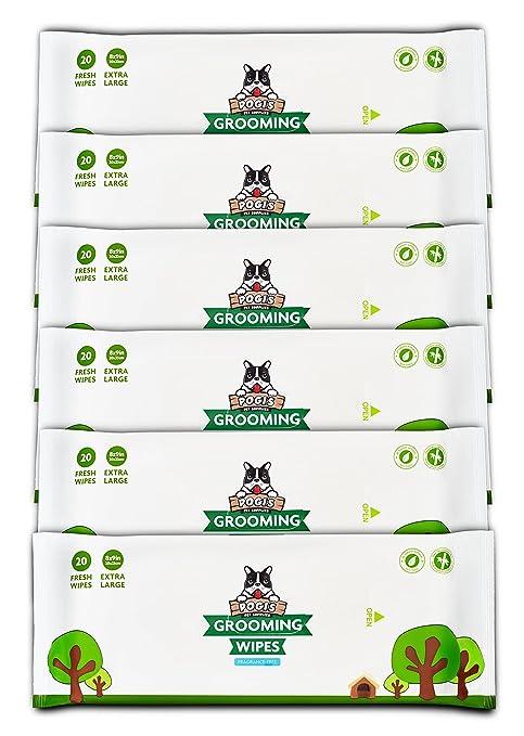 Pogis Grooming Wipes Paquete de Viaje - 120 toallitas desodorantes para Perros - No perfumadas,