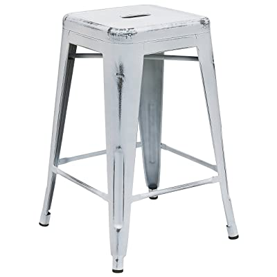 Flash Furniture 24'' High Backless Distressed White Metal Indoor-Outdoor Counter Height Stool: Kitchen & Dining