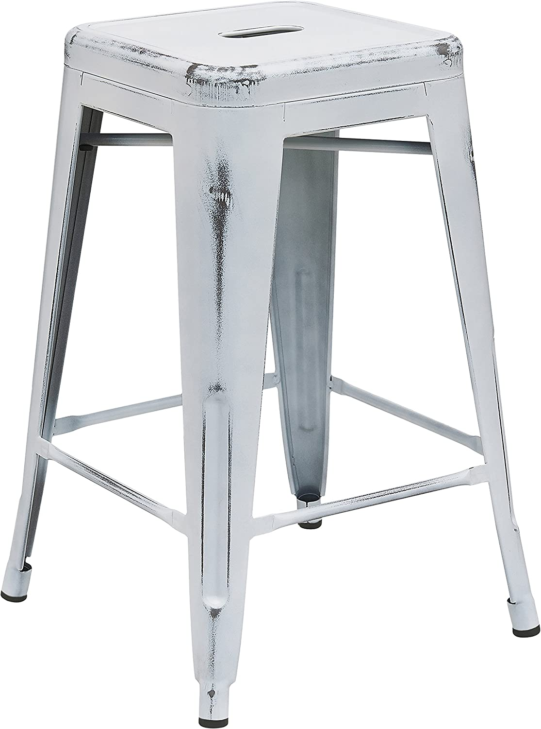 Flash Furniture 24 High Backless Distressed White Metal Indoor-Outdoor Counter Height Stool