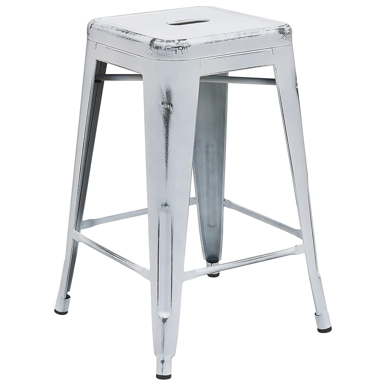 white backless bar stools. Amazon.com: Flash Furniture 24\u0027\u0027 High Backless Distressed White Metal Indoor-Outdoor Counter Height Stool: Kitchen \u0026 Dining Bar Stools T
