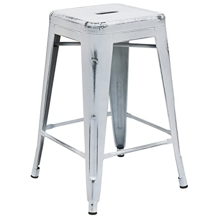 Flash Furniture ET-BT3503-24-WH-GG Colorful Restaurant Counter Distressed White Metal Stool, 1 Pack,