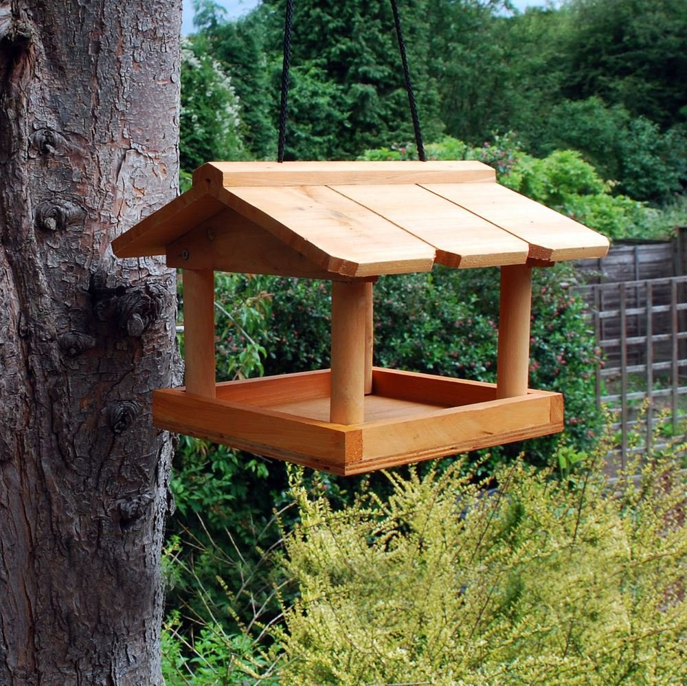 Other NEW HANGING WOODEN BIRD TABLE FEEDING STATION GARDEN BIRD TREE  BRACKET HANG