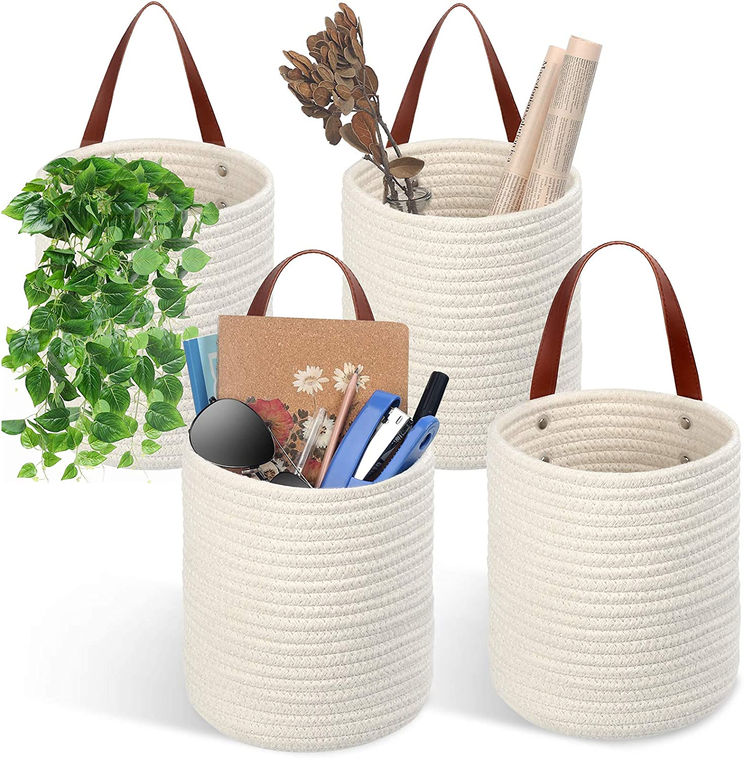 "TomCare 4 Pack Hanging Baskets Wall Basket 7.9"" x 6.7"" Small Woven Storage Baskets Cotton Rope Hanging Storage with Leather Handles Small Decorative Baskets Organizer for Plants Bedroom Office White"