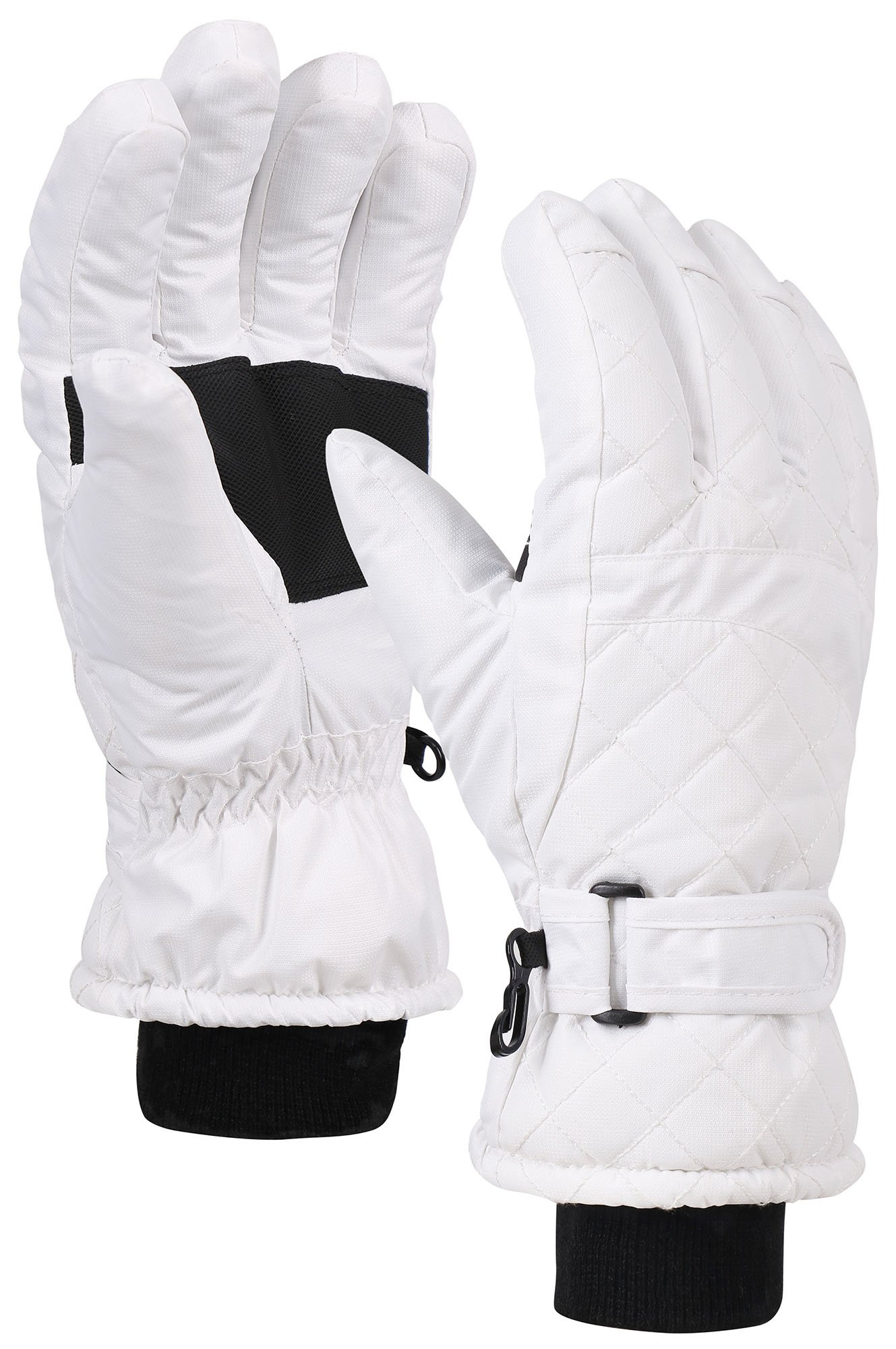 Andorra Premium Women's Waterproof Quilted Thinsulate Lined Snow Gloves,L,White