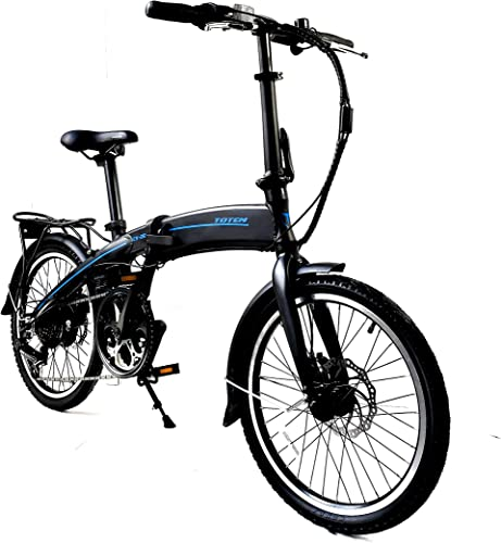 Totem Electric Bicycle 250W Commuter Series 20 Folding Bike w Removable 36V Battery, 5 Level Pedal Assist and Pedal-Free Mode, USB Charging Port, Lightweight 44 lbs, Ships Fully Assembled – Black