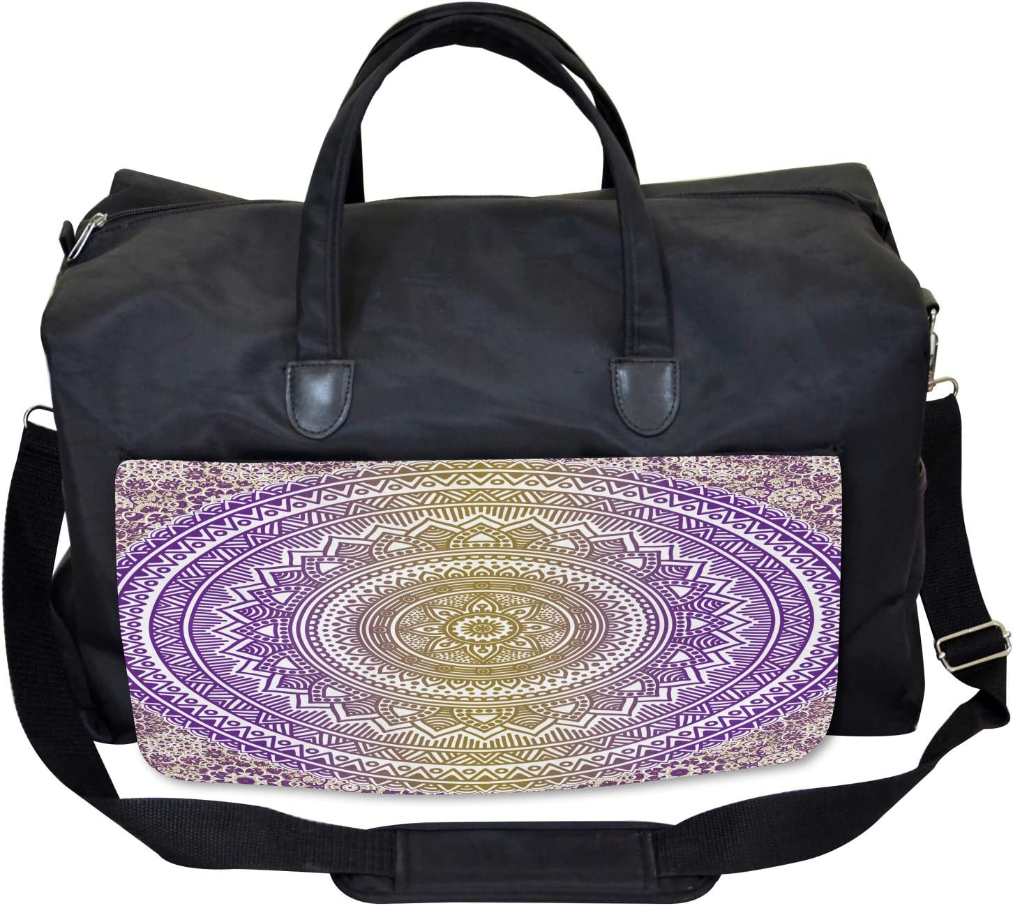 Cosmos Mandala Large Weekender Carry-on Ambesonne Yellow and Purple Gym Bag