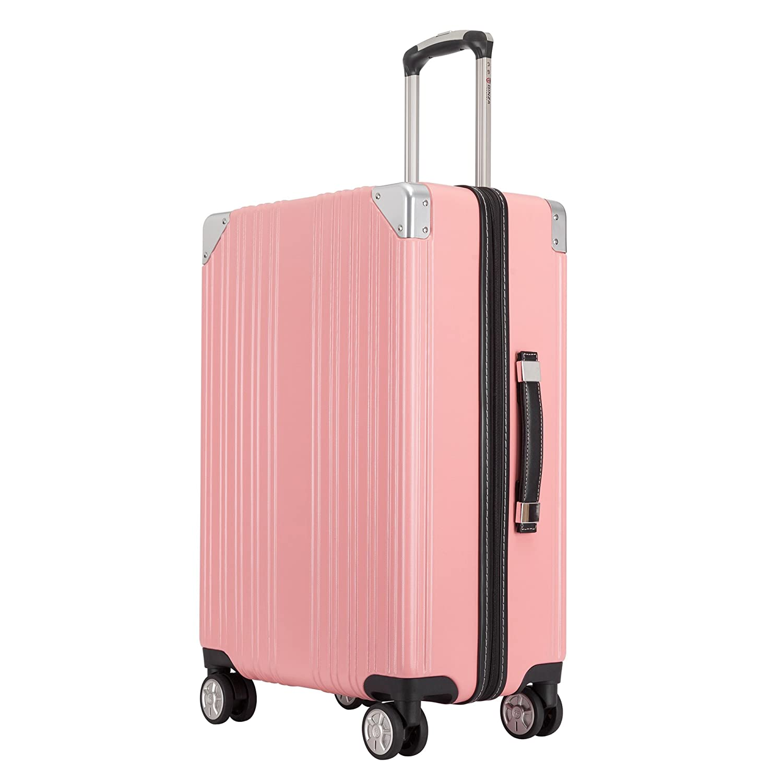クロース(Kroeus) スーツケース ファスナータイプ 大型キャスター 8輪 キャリーケース 人気 大容量 軽量 TSAロック ソフトなハンドル 取扱説明書付 B07CHNFG29 S|ピンク ピンク S