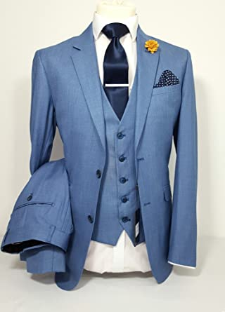MENS BLUE JAY 3 PIECE SUIT WEDDING PARTY PROM TAILORED SMART BUSINES ...