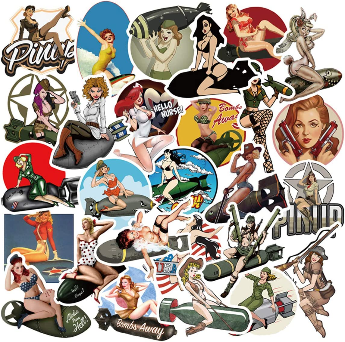 50pcs Pin Up Girl Stickers for Laptop Water Bottle Luggage Snowboard Bicycle Skateboard Decal for Kids Teens Adult Waterproof Aesthetic Stickers (Pin Up Girl)