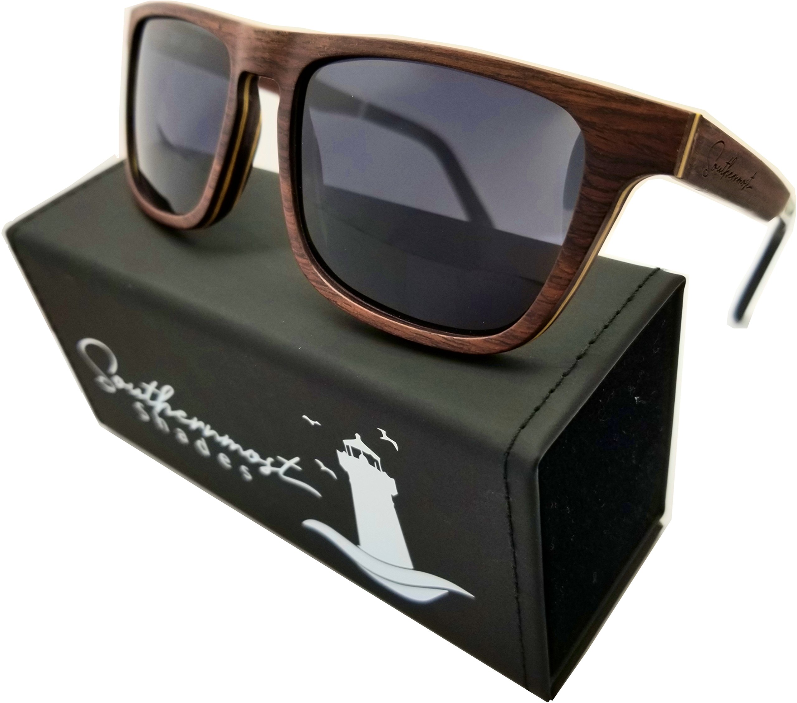 Natural Wood Sunglasses for Men - Wooden Frame - Genuine Polarized Lenses (Sandalwood - Dark Lenses)