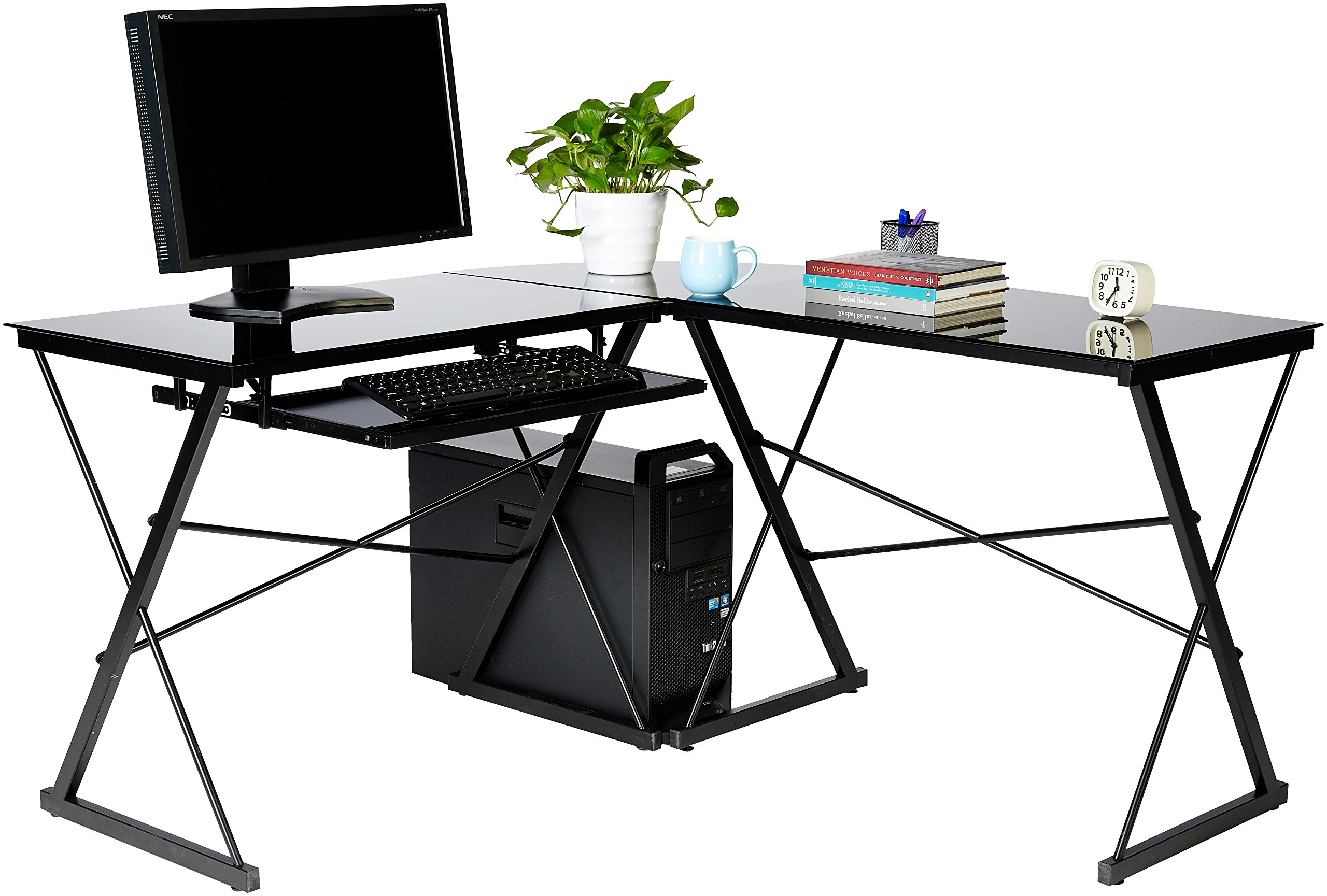 AmazonBasics Three Piece Corner Gaming Computer Desk - Black with Black Glass - 3-piece modular desk with contemporary, minimalist style; can be separated into 2 desks Smooth work surface made of black tempered safety glass (polished and beveled) Includes independent CPU stand and sliding keyboard tray that can be mounted on either side - writing-desks, living-room-furniture, living-room - 81I1dVJpB%2BL -