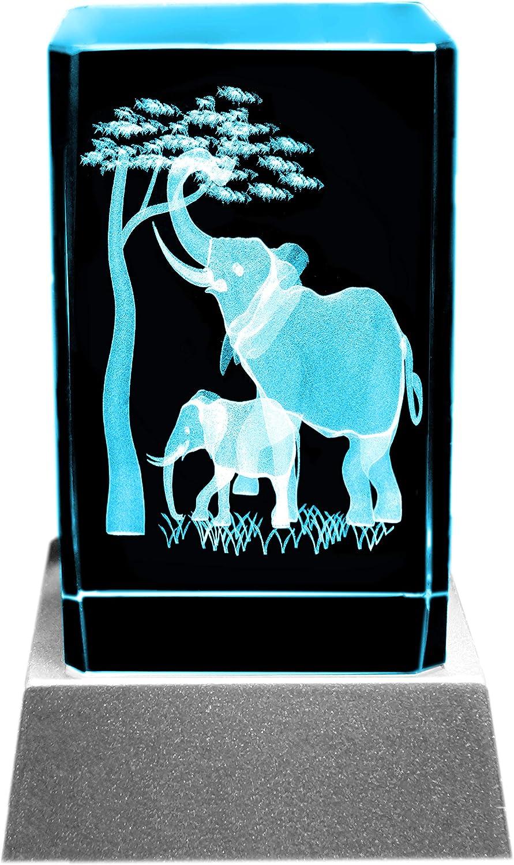bloc en verre et cristal un cadeau tr/ès particulier : bougies LED Kaltner Pr/äsente Lumi/ère dambiance Gravure laser 3D animaux /él/éphants