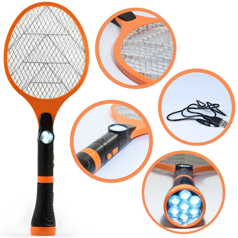 Bug Fly Mosquito eléctrico Zapper–USB Batería electrónica insectos matamoscas con linterna LED–Mata insectos y bichos interior y al aire libre–creatov