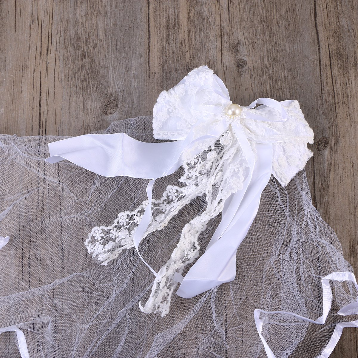 FENICAL Wedding Veil Bowknot Hair Decoration Wedding Communion Floral Veil with Comb 2966435-6446-0945275681
