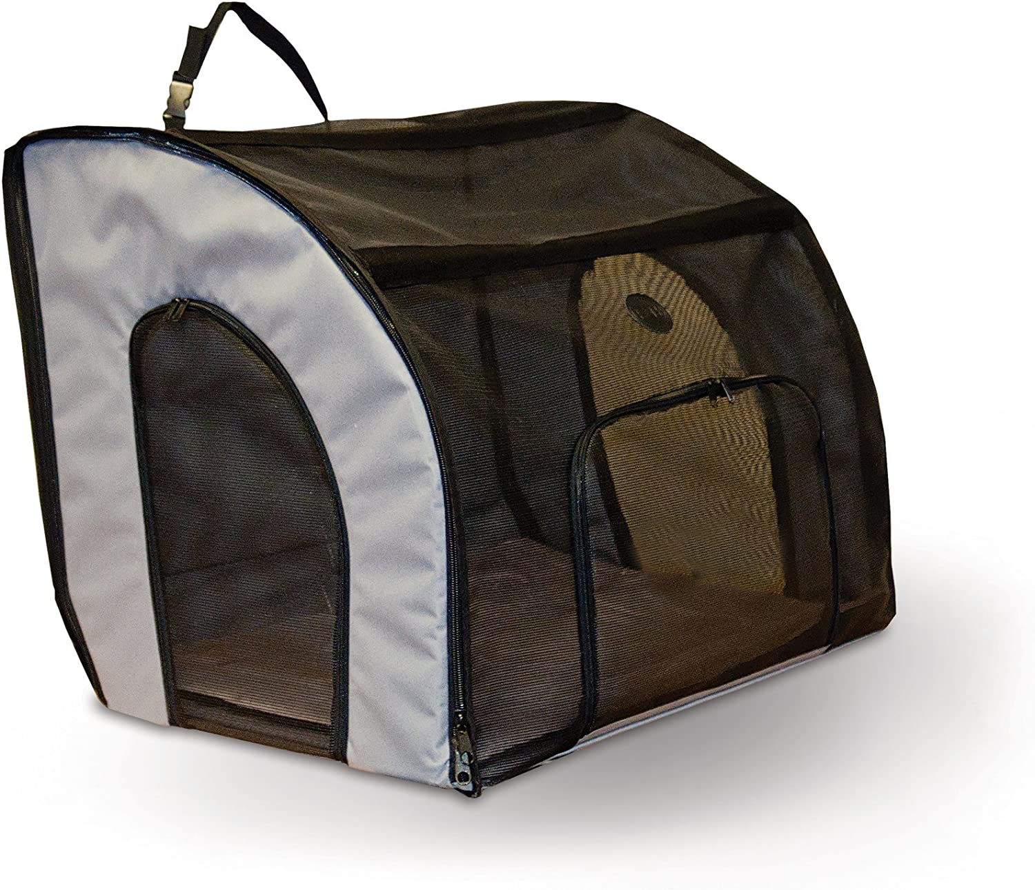 """K&H Pet Products Travel Safety Pet Carrier Small Gray 17"""" x 16"""" x 15"""" : Pet Carriers : Pet Supplies"""