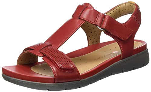 Clarks Women s Un Haywood Red Leather Fashion Sandals - 3.5 UK India (36 EU