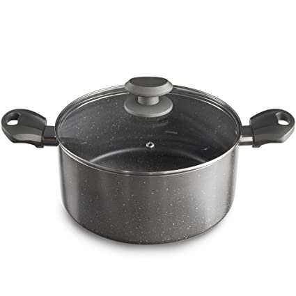 5fa7a72e VonShef Non Stick Aluminium Stock Pot with Marble Effect 24cm 4L, Double  Handles, Glass Lid with Steam Vent - Grey: Amazon.co.uk: Kitchen & Home