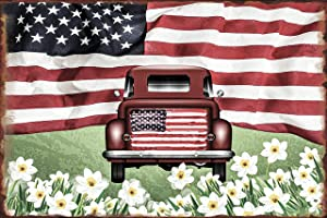 SOULEAK American Flag Tin Signs, Vintage Spring Flowers Red Truck Metal Wall Decor, Rustic Patriotic Personalized Metal Signs for Farmhouse Bar Home Office, 8x12Inch