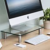 Fitueyes Glass Monitor Stand Computer TV Screen Riser DT103801GC