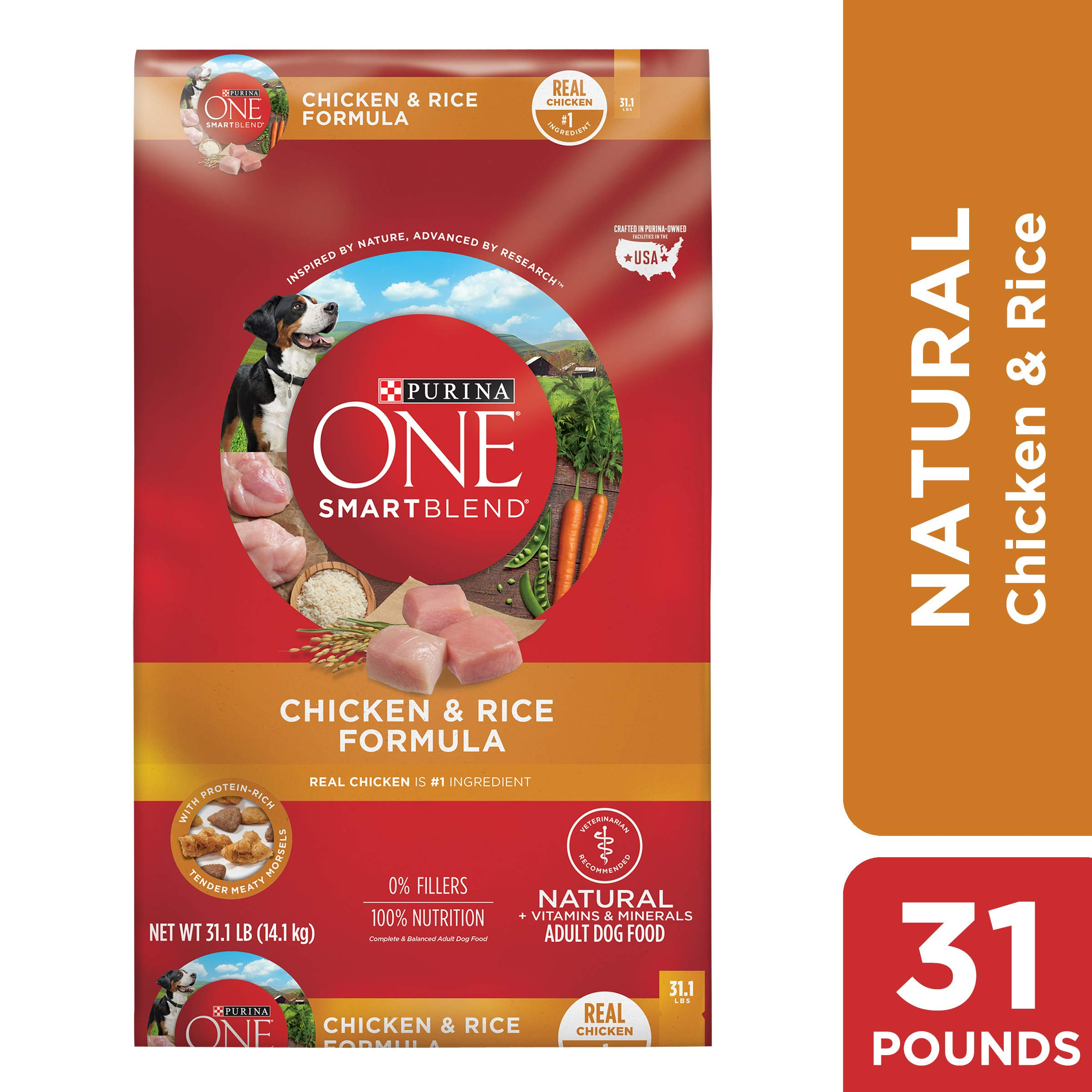 Purina ONE Natural Dry Dog Food, SmartBlend Chicken & Rice Formula - 31.1 lb. Bag by Purina ONE